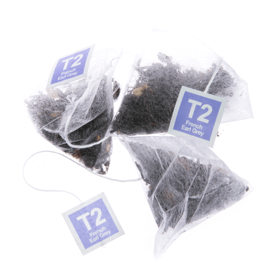 Standard product shot on a white background of T2 French Earl Grey teabags